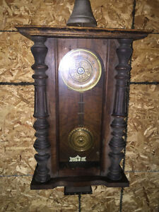Antique Wall Hanging Regulator Pendulum Bell Clock 1920 - 1936