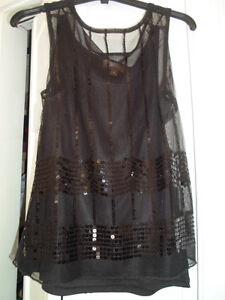 FANCY BLACK 2 LAYER (1ST LAYER SHEER) NO SLEEVES TOP