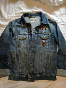 TOPMAN Denim Jacket with Dagger Patch - Small