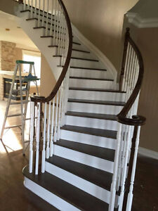 Canadian solid red oak/maple stair treads  $25, moulding $1