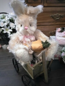 Easter bunny plush toy, in wagon