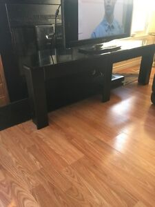 Black TV stand with glass top