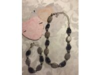 "Silver & Black Necklace & Bracelet Set - ""Brighton"""