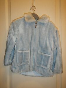 Pale blue, fun-fur jacket with hat - size 2