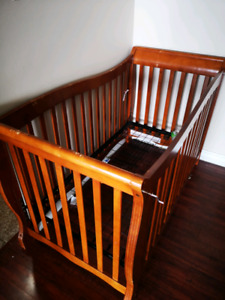Solid wood crib with full bed set for sale