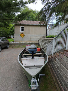 "Fishing boat 16"" fiberglass +9.5 hp"