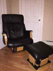 All leather glider/rocker with matching rocking ottoman