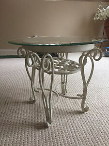 Beautiful Cream wrought Iron Coffee tables