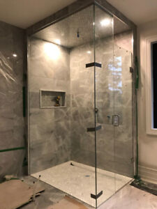Frameless shower glass door and glass railing
