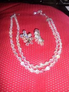 vintage two strand aurora borelais necklace & matching clip ons