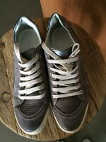 Geox Beige Leather Running Shoes