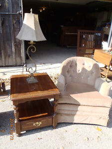 Chair, Side Table with Lamp