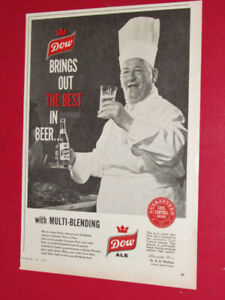 VINTAGE 1960 DOW ALE CANADIAN BEER AD - ANNONCE RETRO BIERE 60S