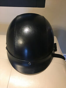 Leather covered motorcycle helmet - brand new size XL