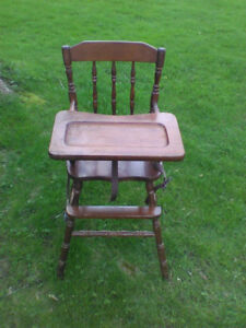 antique wood high chair