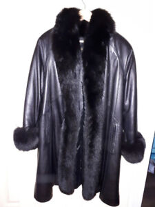 Leather Coat with Saga Fox Trim and Cuffs