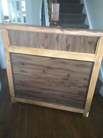Hand crafted chunky wooden counter reception desk