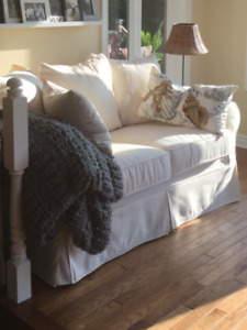 IKEA  off-white slipcovered couch, loveseat and chair