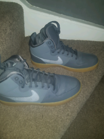 Grey and brown air force ones