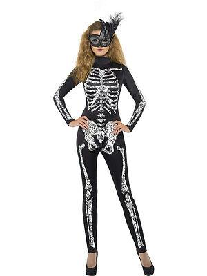 Women's Soleil Skeleton Cat Suit Sexy Adult Costume Size Large](Cat Skeleton Costume)