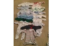 13x newborn size baby grows/sleepsuits, mostly white/blue, great for boys
