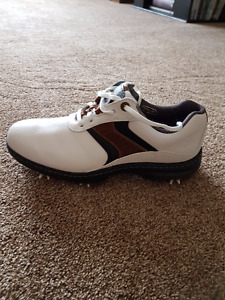Footjoy Contour Series golf shoe white with black/brown stripes
