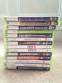 Xbox 360 console, guitar and games