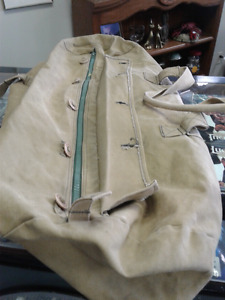 Large Vintage Military Canvas luggage bag- Clean-heavy duty