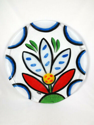 """Kosta Boda 16"""" Serving Platter Ulrica Hydman Vallien Painted Art Glass Flower"""
