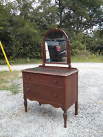 Solid wood dresser with tip out mirror