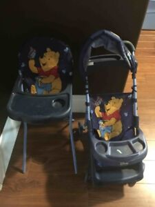 doll stroller and high chair