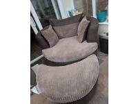 Brown swivel cuddle armchair & footstool
