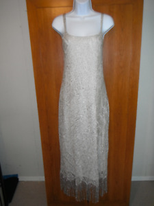 New, Reitmans Size 13 Fully Lined, Silver Gown  fringe detail