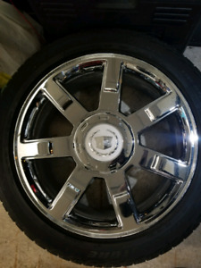 "22"" ESCALADE RIMS AND SNOW TIRES"