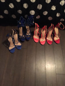 NEW ASSORTED SEXY HEELS 8.5 RED BLUE AND HOT PINK