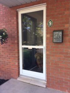 """34"""" by 80"""" White Aluminum Screen Door"""