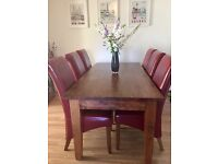 Large wood dining table and 6 chairs red