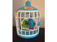 Little live pets talking birds with cage blue