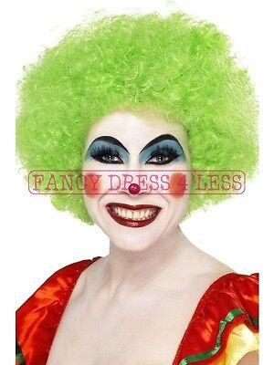 Women's Green Clown Wig & Red Nose Circus - Comic Themen Kostüm