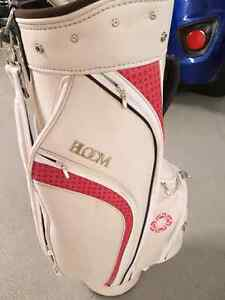Womens golf bag by bloom Cleveland pink and white