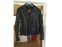 """'Brando' Black Leather Motorbike Jacket size Large 40"""" chest"""