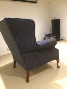 Wing Chair in Navy Blue