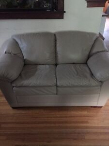 Beige leather. Love seat and chair