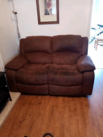 3 piece suite brown suede recliners