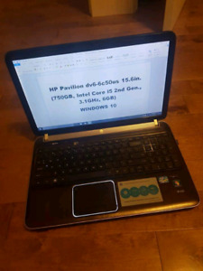 HP dv6 15.6in. 750GB. Core i5. Wondows 10.  -