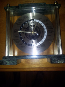 Vtg World's Times Executive Desk Mantle Clock Jungans Quartz