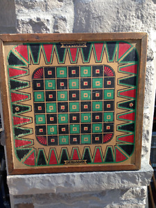 VINTAGE UNIQUE CHEKGAMMON CHECKERS CHESS PLAYING BOARD