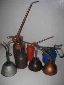Vintage Oil Cans, Oilers, Metal Pump Oiler Cans, Hydraulic Oiler