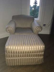 Striped Chair and Ottoman
