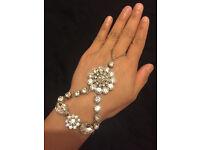 Silver tone hand chain bracelet finger ring